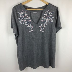 Lane Bryant grey tshirt with embroidery